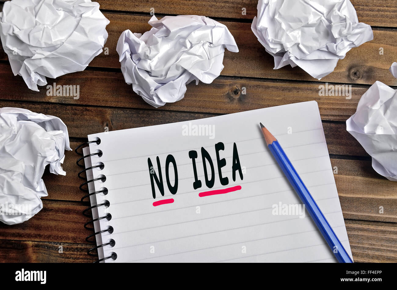 No idea words on notebook - Stock Image