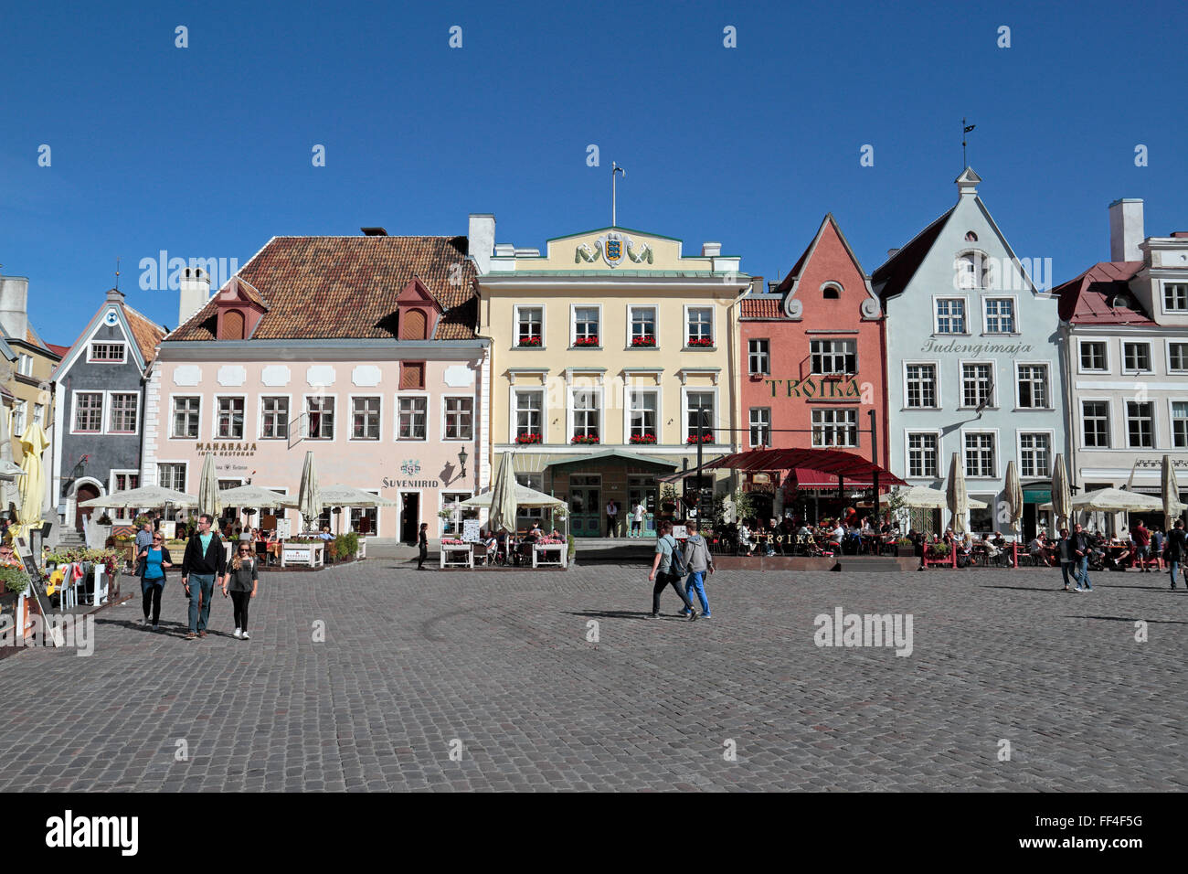 The historic and beautiful Town Hall Square (Raekoja plats) in Tallinn, Estonia. - Stock Image