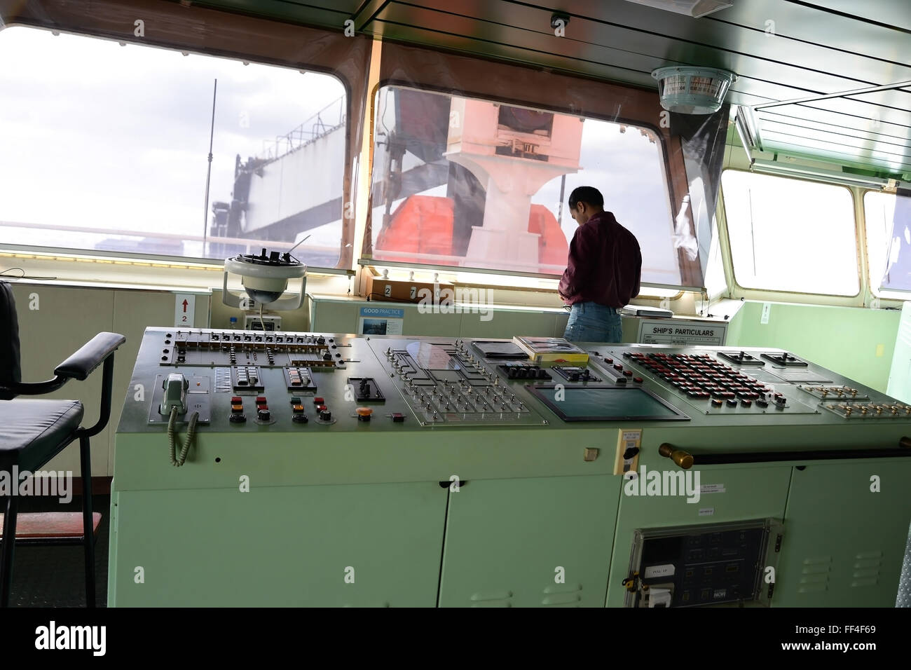 Interior of the Bridge, control center of the ship on container ship UTRILLO - Stock Image