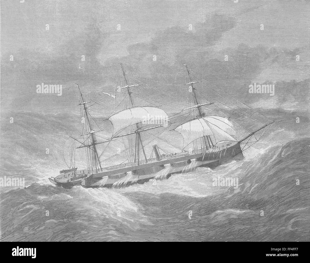 SHIPS Turret-Ship Capt, wind during cruise 1870. The Graphic - Stock Image