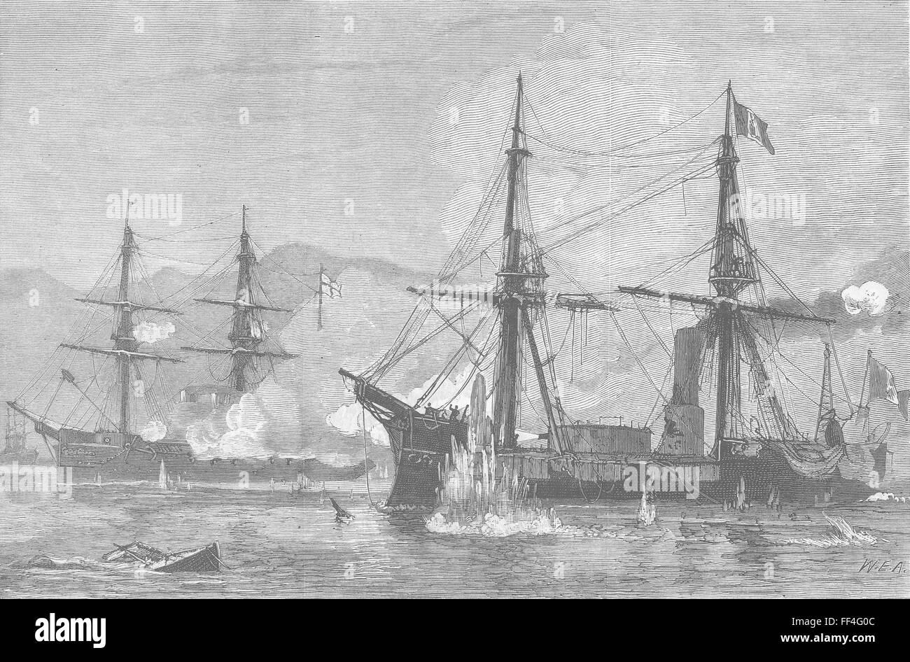 PERU Battle between Huascar & HMS Shah, Ilo 1879. The Graphic - Stock Image