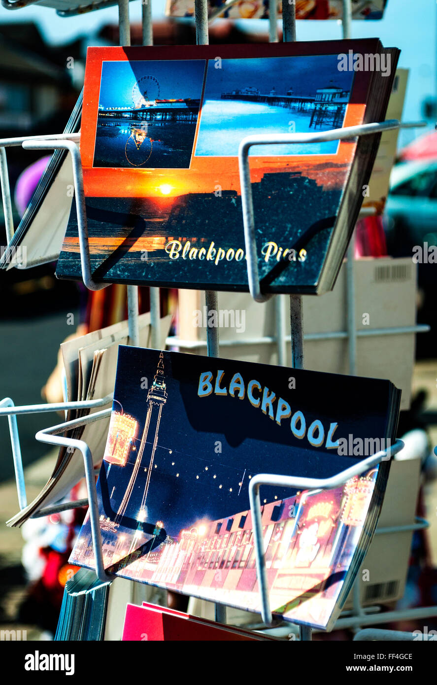 Postcards of Blackpool in Lancashire, England, UK - Stock Image