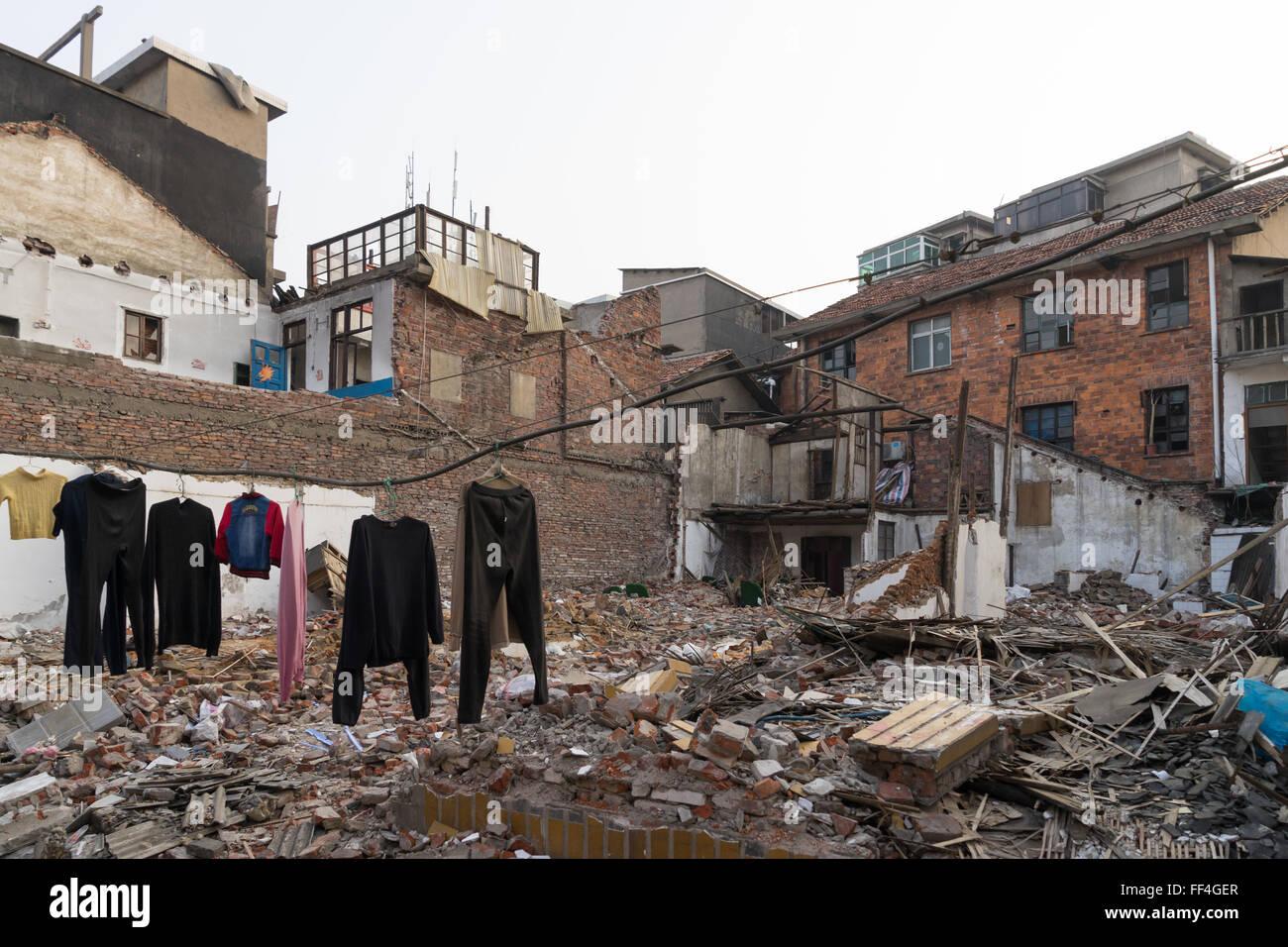 Demolished buildings in Xiangtan, Hunan, China - Stock Image