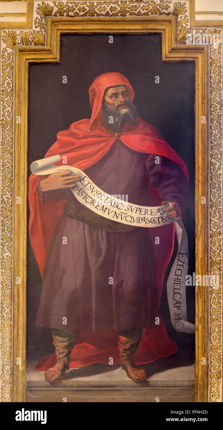 CORDOBA, SPAIN - MAY 27, 2015: The fresco of prophet Ezekiel from 17. cent. by Cristobal Vela and Juan Luis Zambrano. - Stock Image
