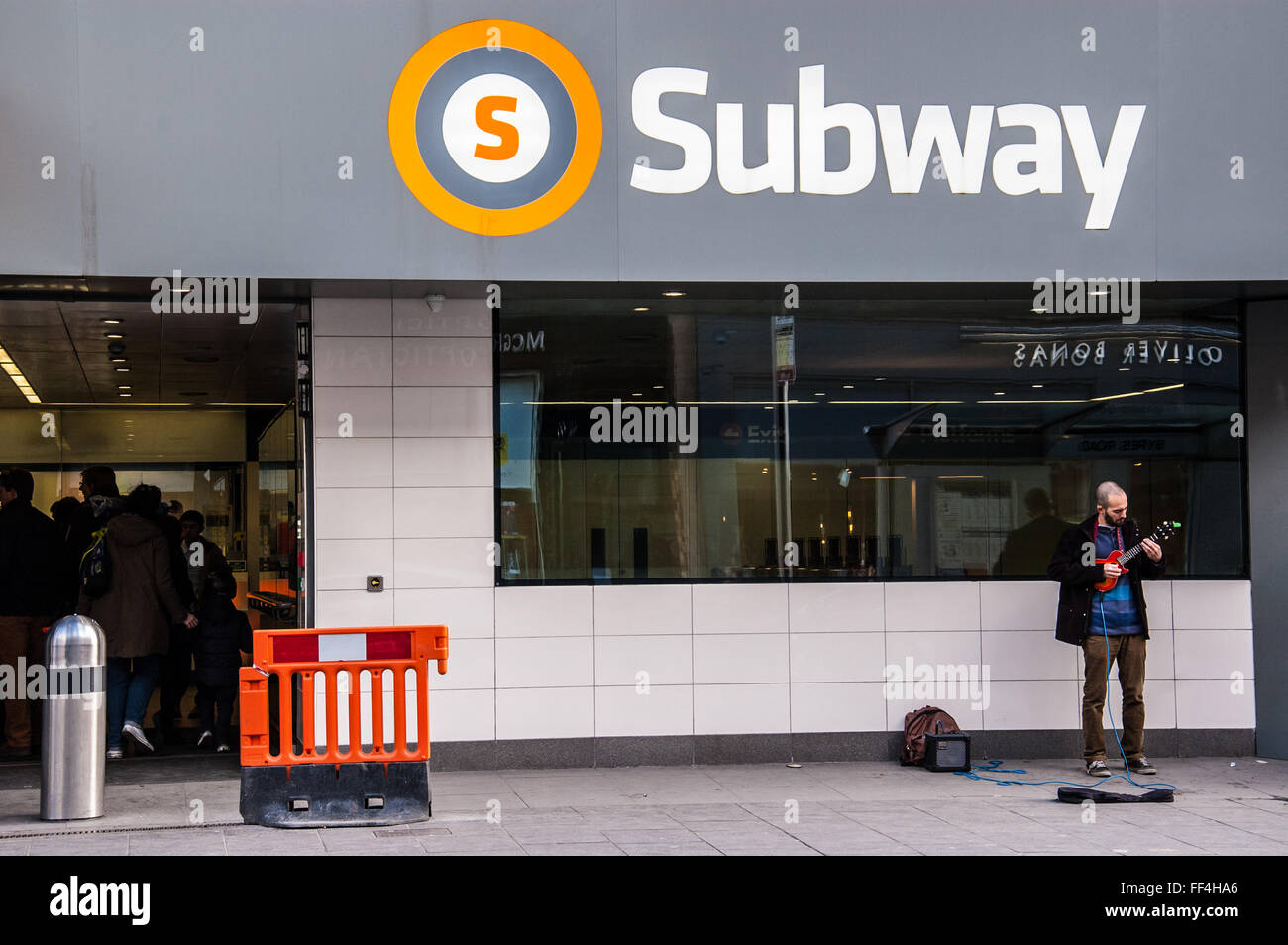 Entrance of the newly refurbished Glasgow subway in Byres road, West end. - Stock Image