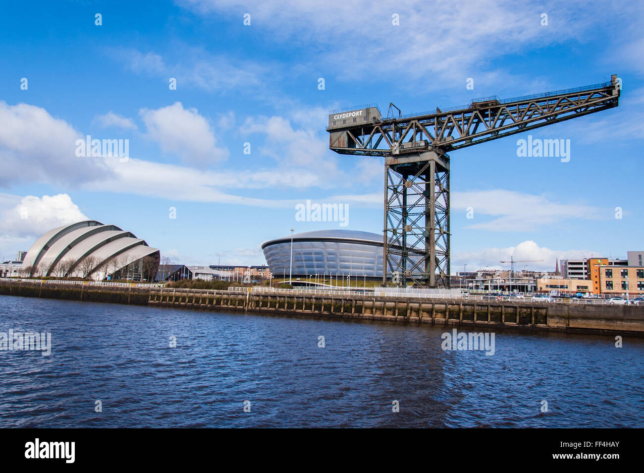 View of the Hydro concert arena and SECC exhibition center with Finnieston crane on the side. Glasgow, Scotland, - Stock Image