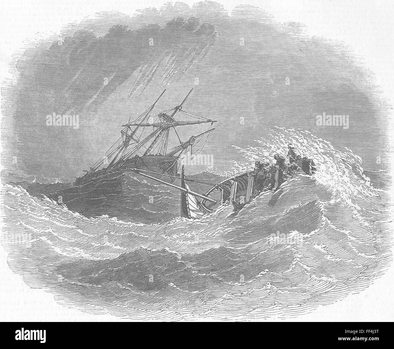 WORTHING Boat disaster & Lalla Rookh, distress 1850. Illustrated London News - Stock Image
