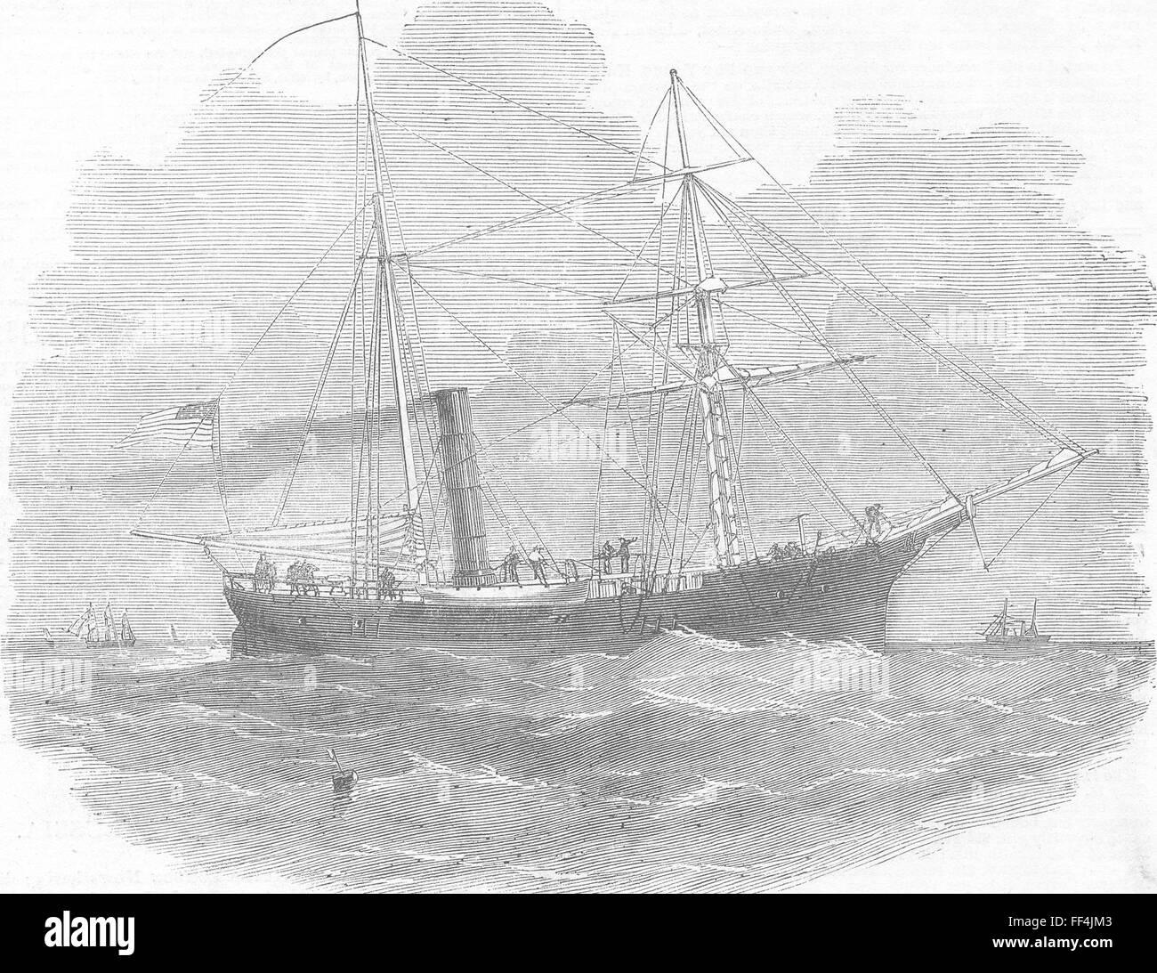 SHIPS American ship laying Atlantic Telegraph 1856. Illustrated London News - Stock Image