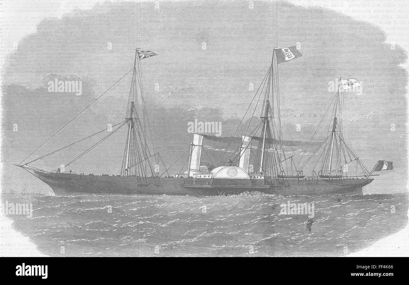 SHIPS Royal Italian Ship Esploratore 1863. Illustrated London News - Stock Image