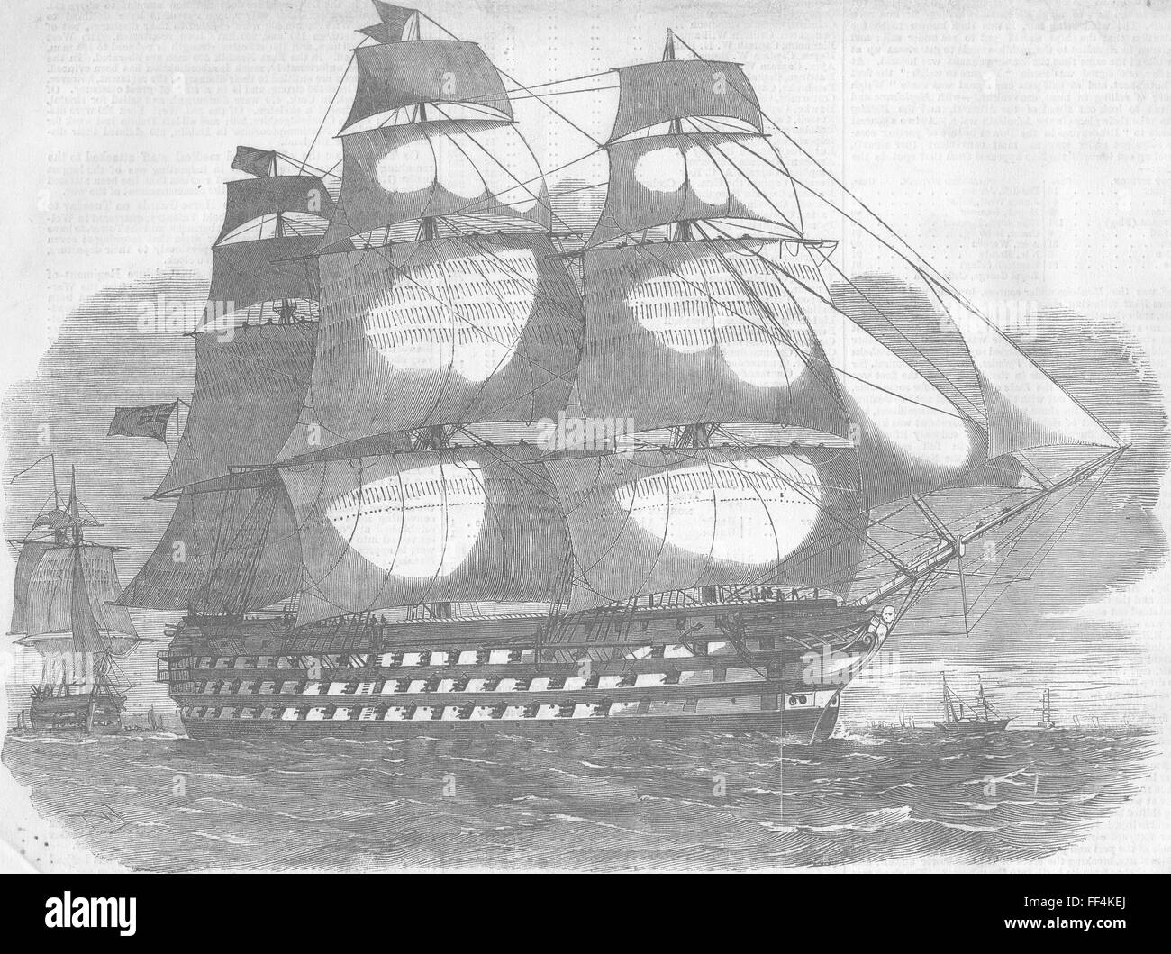 SHIPS Duke of Wellington, Baltic flagship, Dundas 1855. Illustrated London News - Stock Image