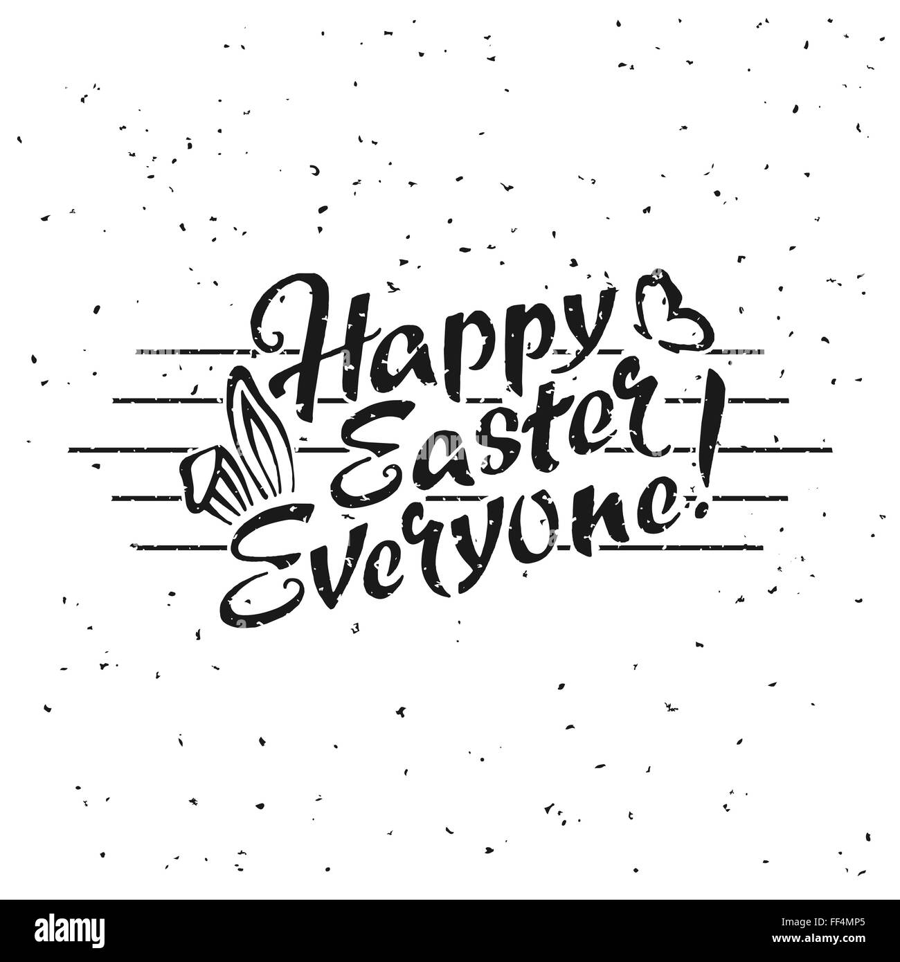 Happy Easter Everyone hand drawn lettering over white background for your design - Stock Image