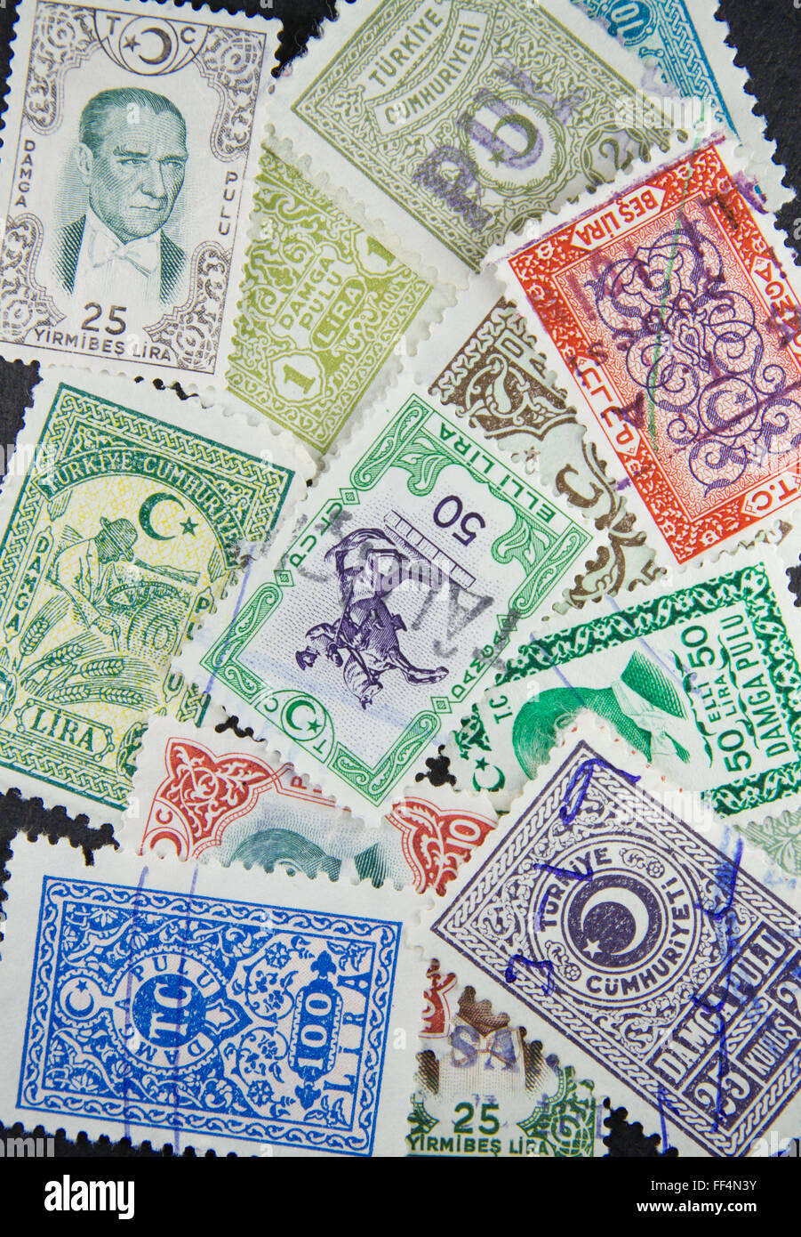 Stack of Turkish revenue stamps printed in Turkey circa 1970 - Stock Image