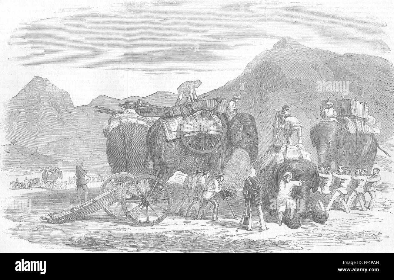 PAKISTAN Peshawar Mountain train, line of March 1877. Illustrated London News - Stock Image