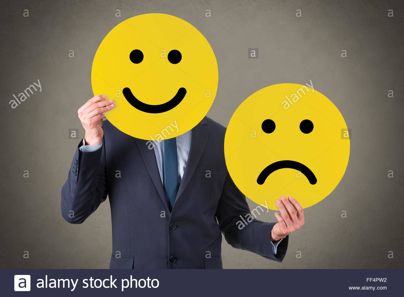 Unhappy and Happy Smile - Stock Image