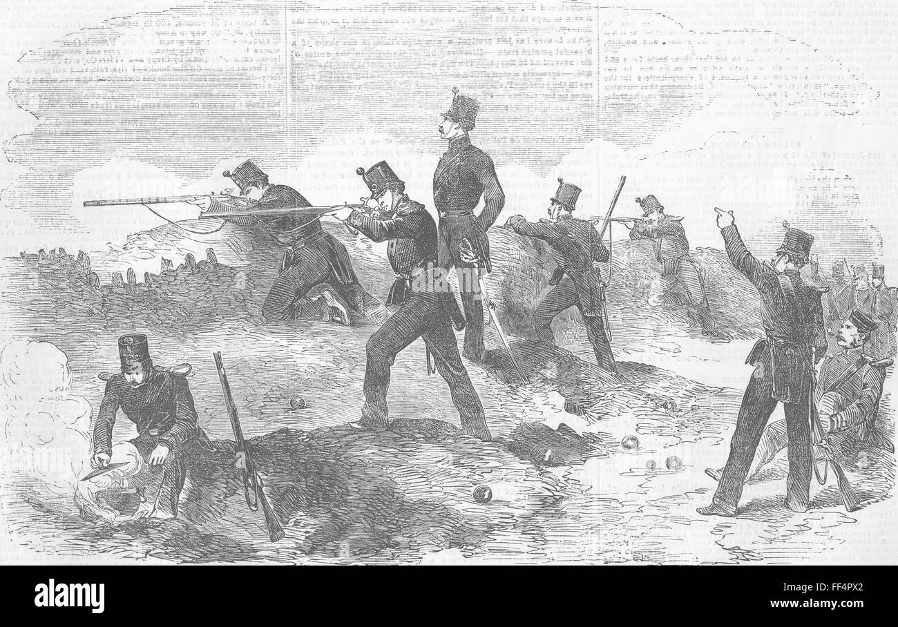 UKRAINE Siege of Sevastopol-Rifles, Trenches 1854. Illustrated London News - Stock Image