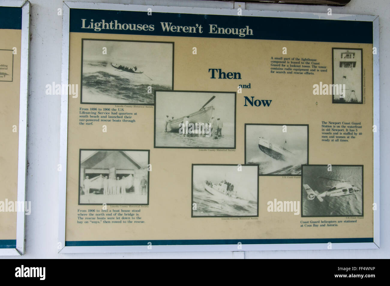 Lighthouses In Oregon Map.Sign Explaining Safety And Lighthouses On The Oregon Coast Stock