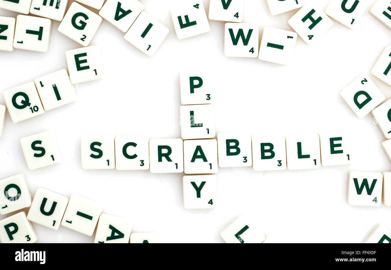 Scrabble Word Game on a White Background Stock Photo