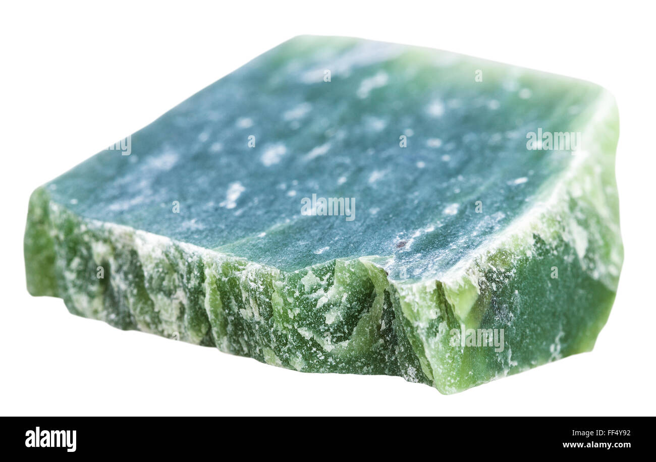 macro shooting of natural mineral stone - green nephrite gemstone isolated on white background Stock Photo