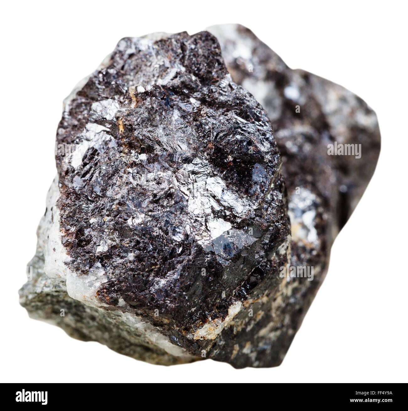 macro shooting of natural mineral stone - sphalerite (zinc blende) stone isolated on white background - Stock Image