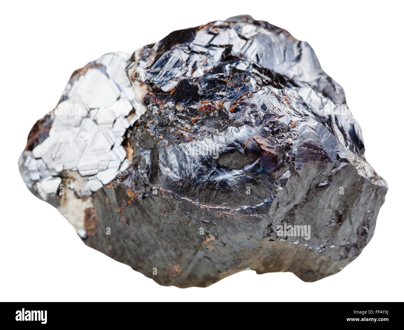 macro shooting of natural mineral stone - sphalerite (marmatite, zinc blende) rock isolated on white background - Stock Image