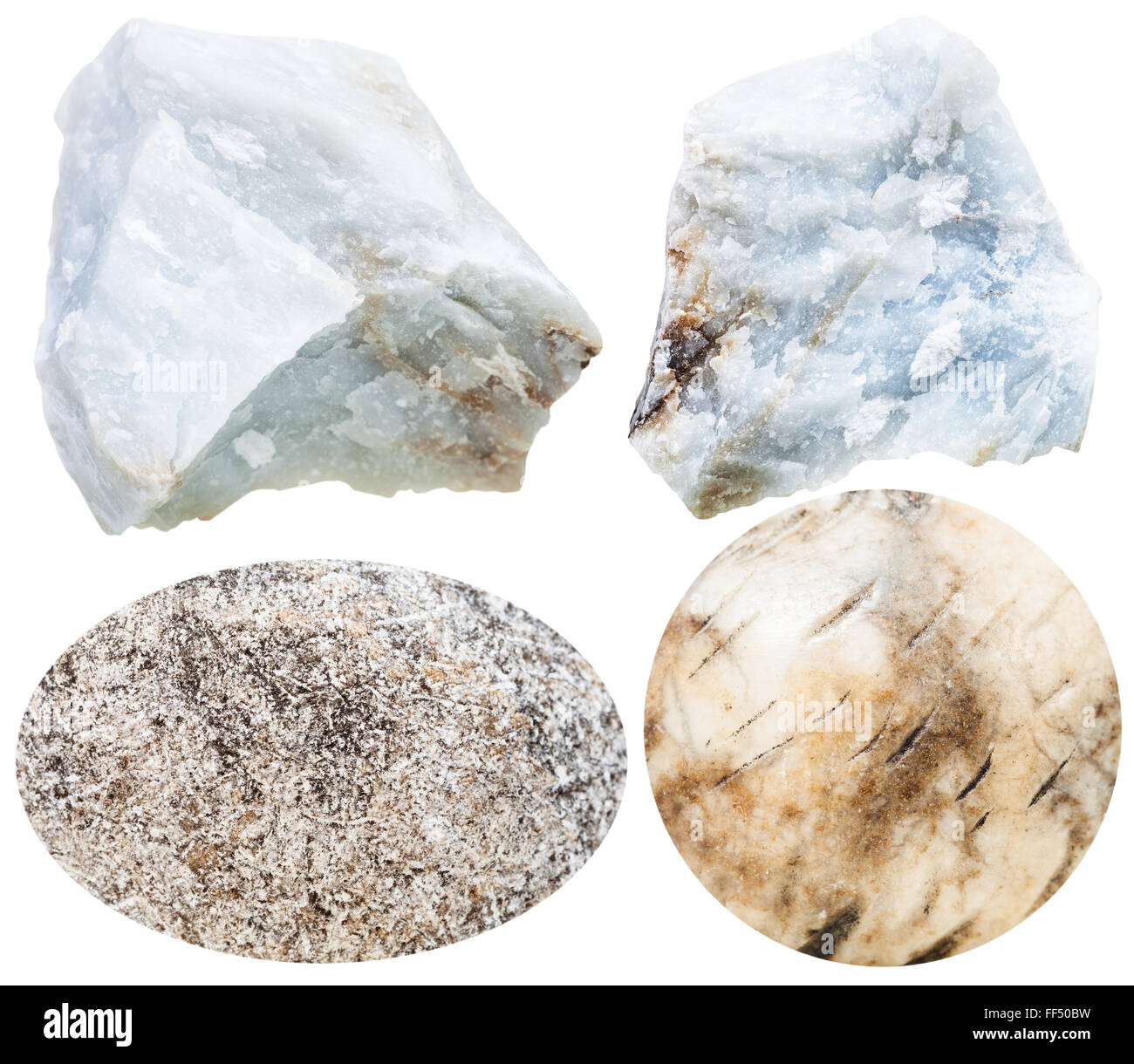 set of natural mineral stones - specimens of anhydrite cabochon gemstones and rocks isolated on white background - Stock Image