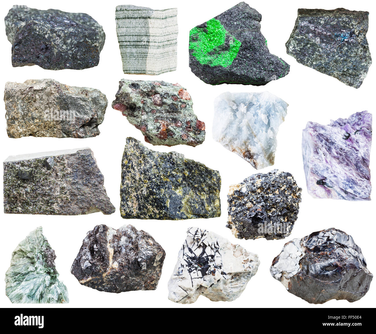 set of natural mineral rock stones - bornite, perovskite, ilmenite, sphalerite, anhydrite, eclogite, uvarovite, - Stock Image