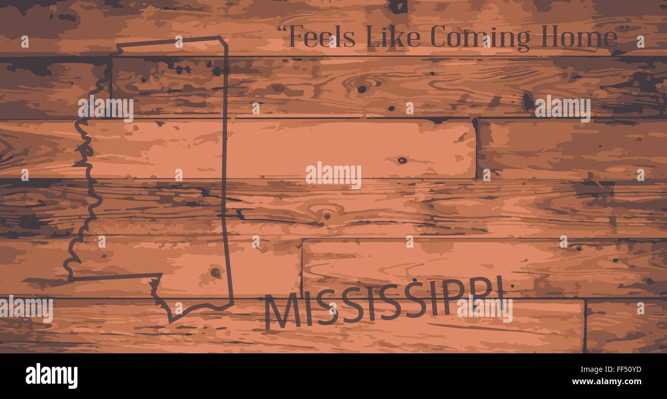 Mississippi State Map Outline.Mississippi State Map Brand On Wooden Boards With Map Outline And