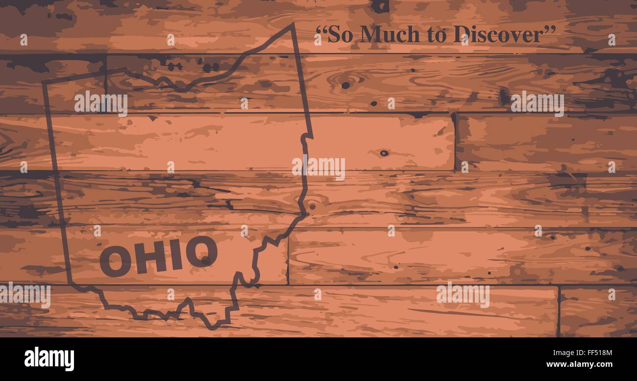 Ohio State Map Brand On Wooden Boards With Map Outline And State