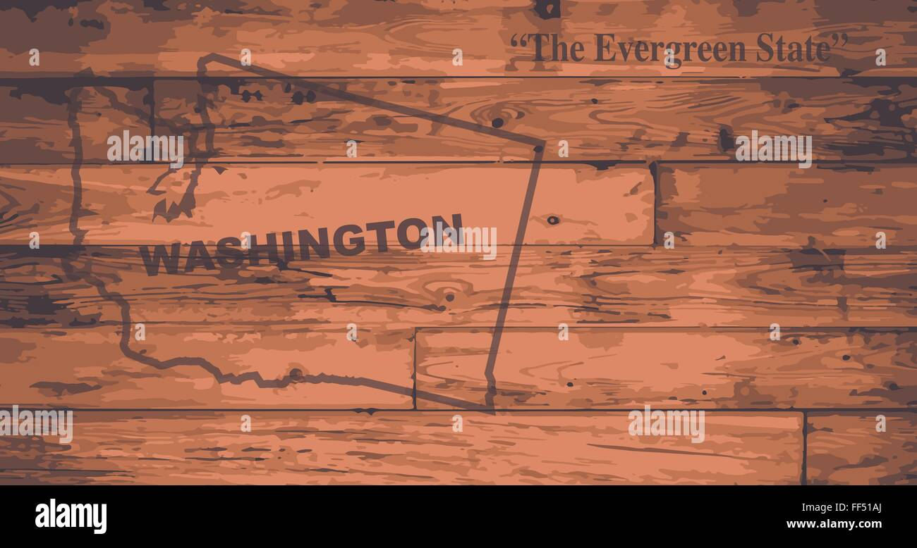 Washington state map brand on wooden boards with map outline and state motto - Stock Vector