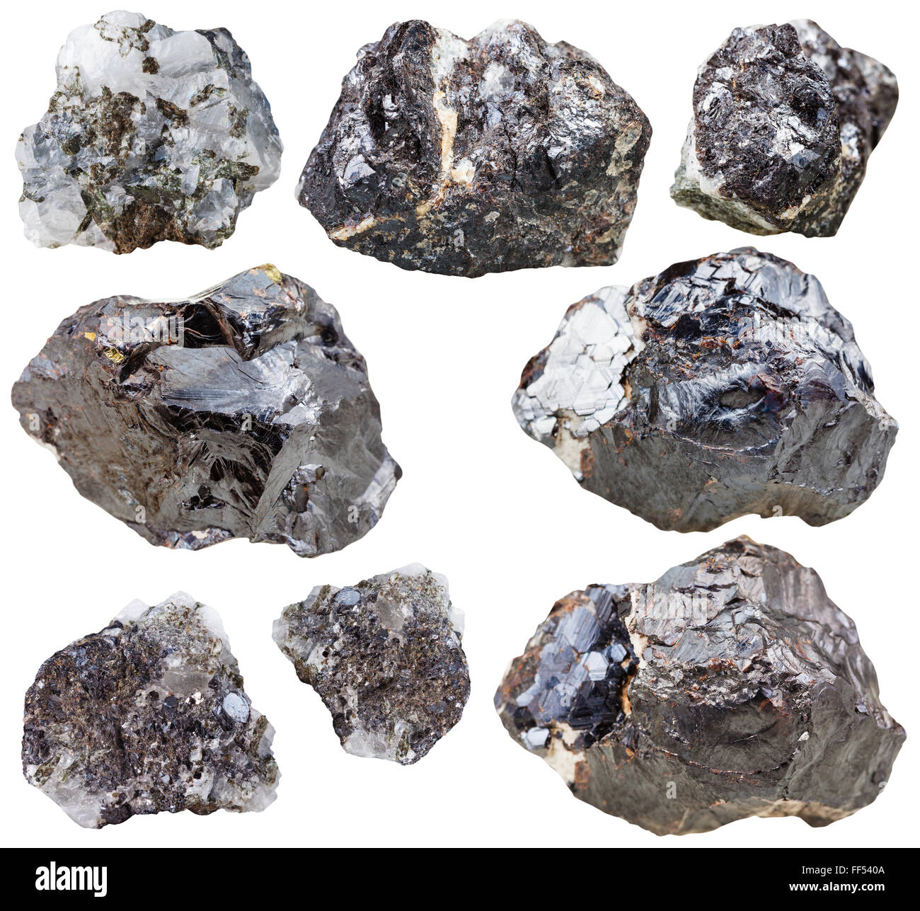 set of natural mineral stones - specimens of sphalerite gemstones and rocks isolated on white background - Stock Image