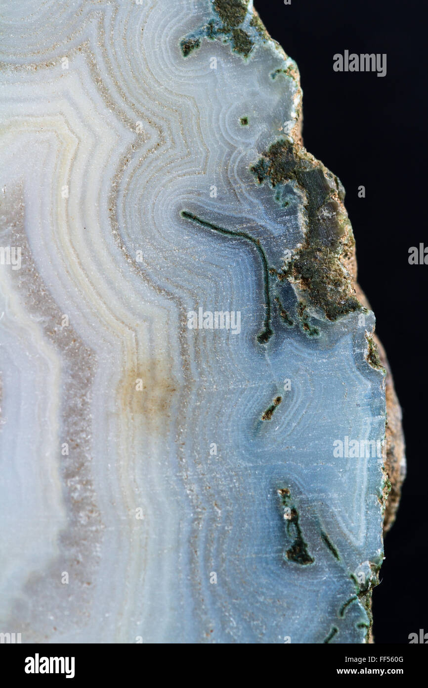 close up of a beautiful polished stone with interesting details in the texture and natural colors - Stock Image