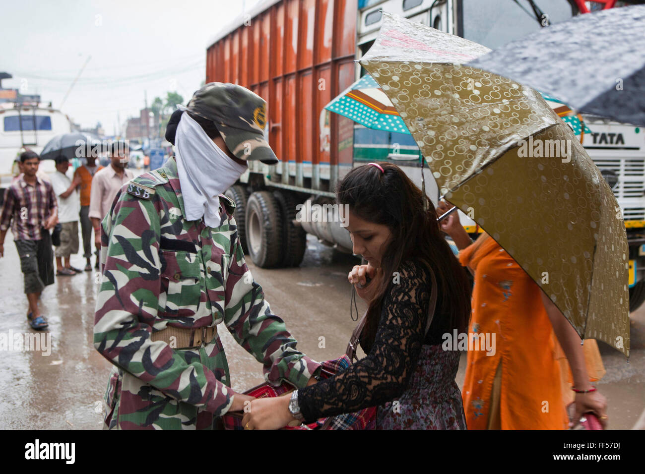 India Boarder guards (SSB) make regular searches of people and their possessions arriving from Nepal. This is the Stock Photo