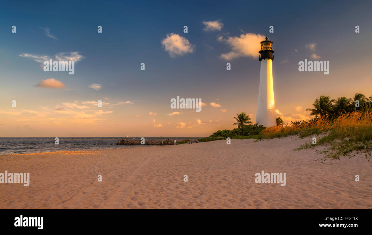 Lighthouse on the Beach at sunset in Key Biscayne, Florida Stock Photo