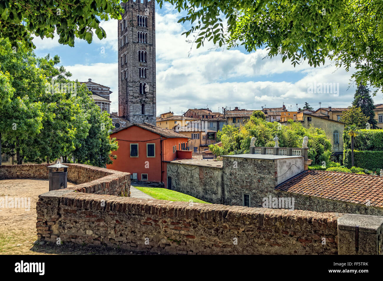 Medieval Italian town of Lucca - Stock Image