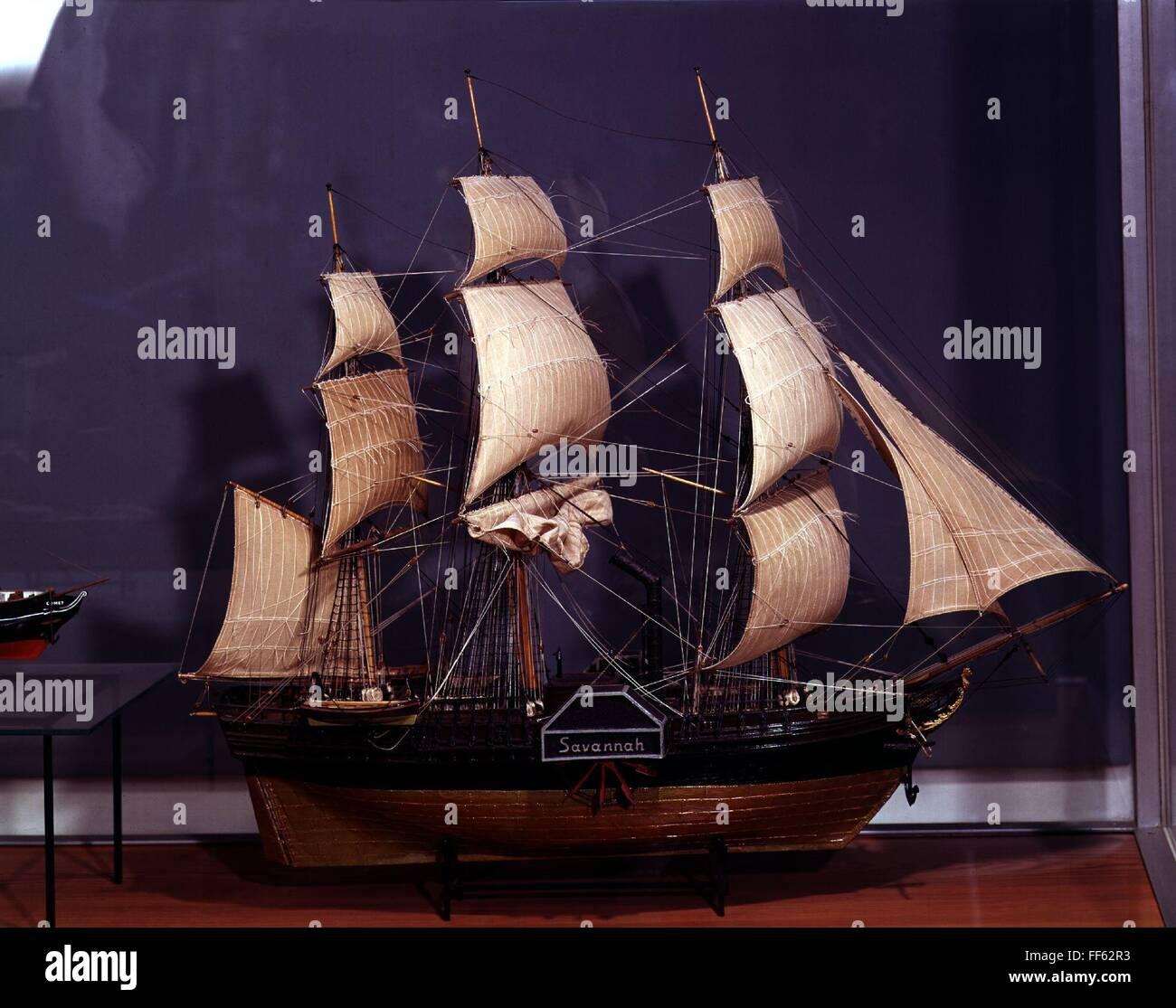 transport / transportation, navigation, paddle steamer 'Savannah', first steamship, that crossed an ocean, - Stock Image