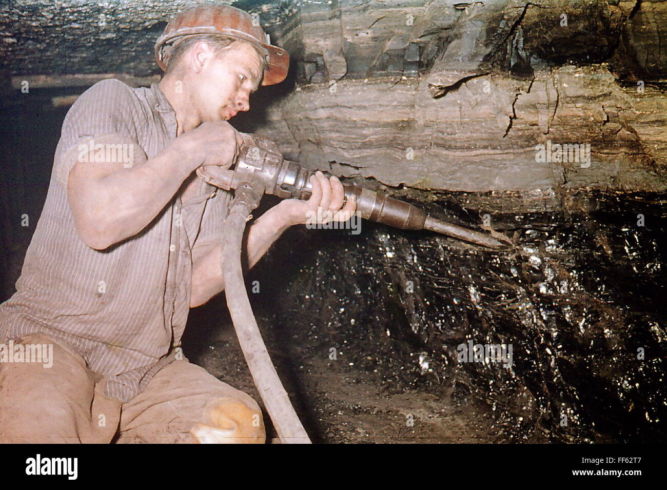 mining, coal mining, pitch coal, Penzberg, Upper Bavaria, Germany, 1959, Additional-Rights-Clearences-NA - Stock Image