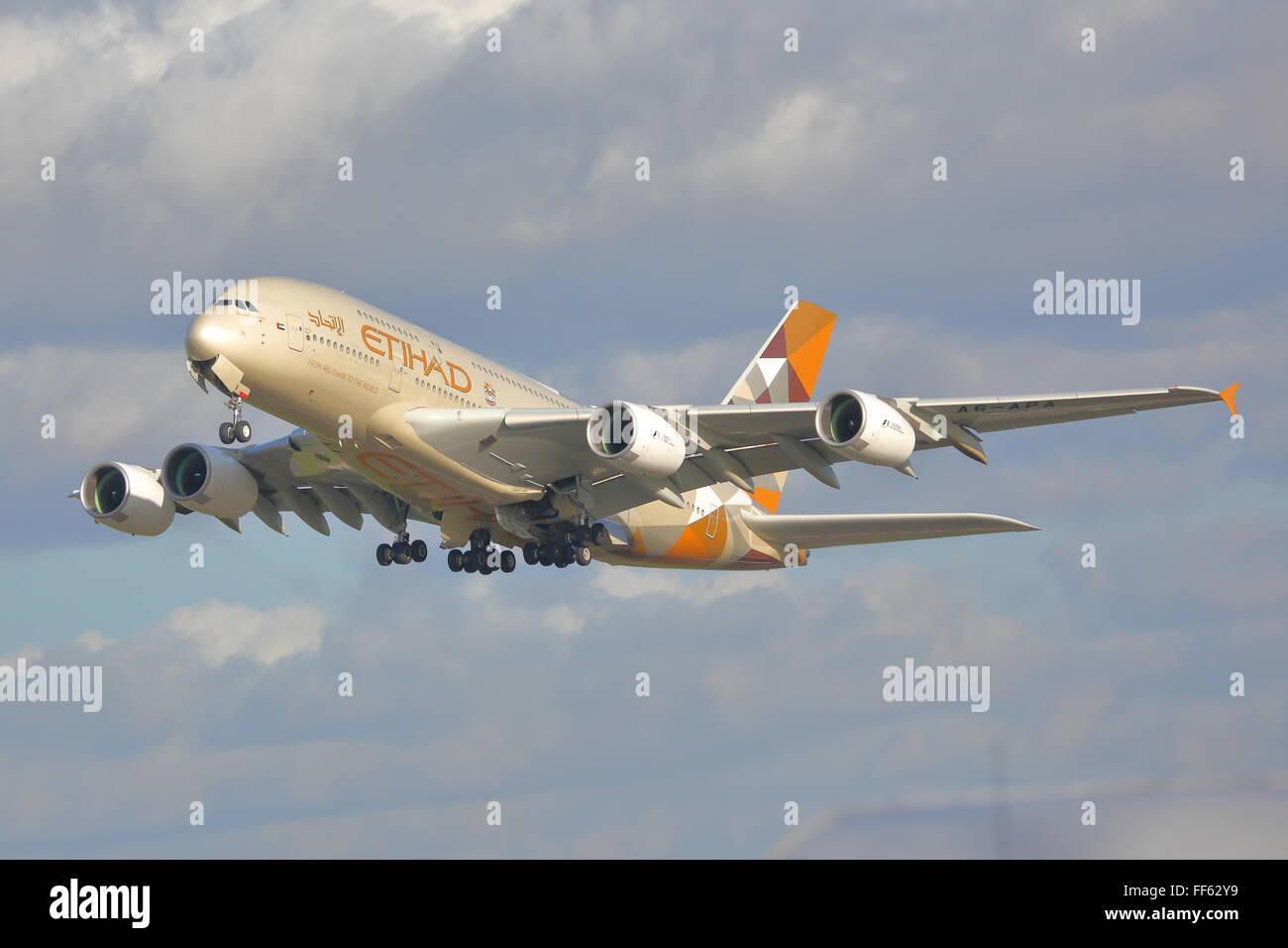 Etihad Airways Airbus A380-800 A6-APA departing from London Heathrow Airport, UK - Stock Image