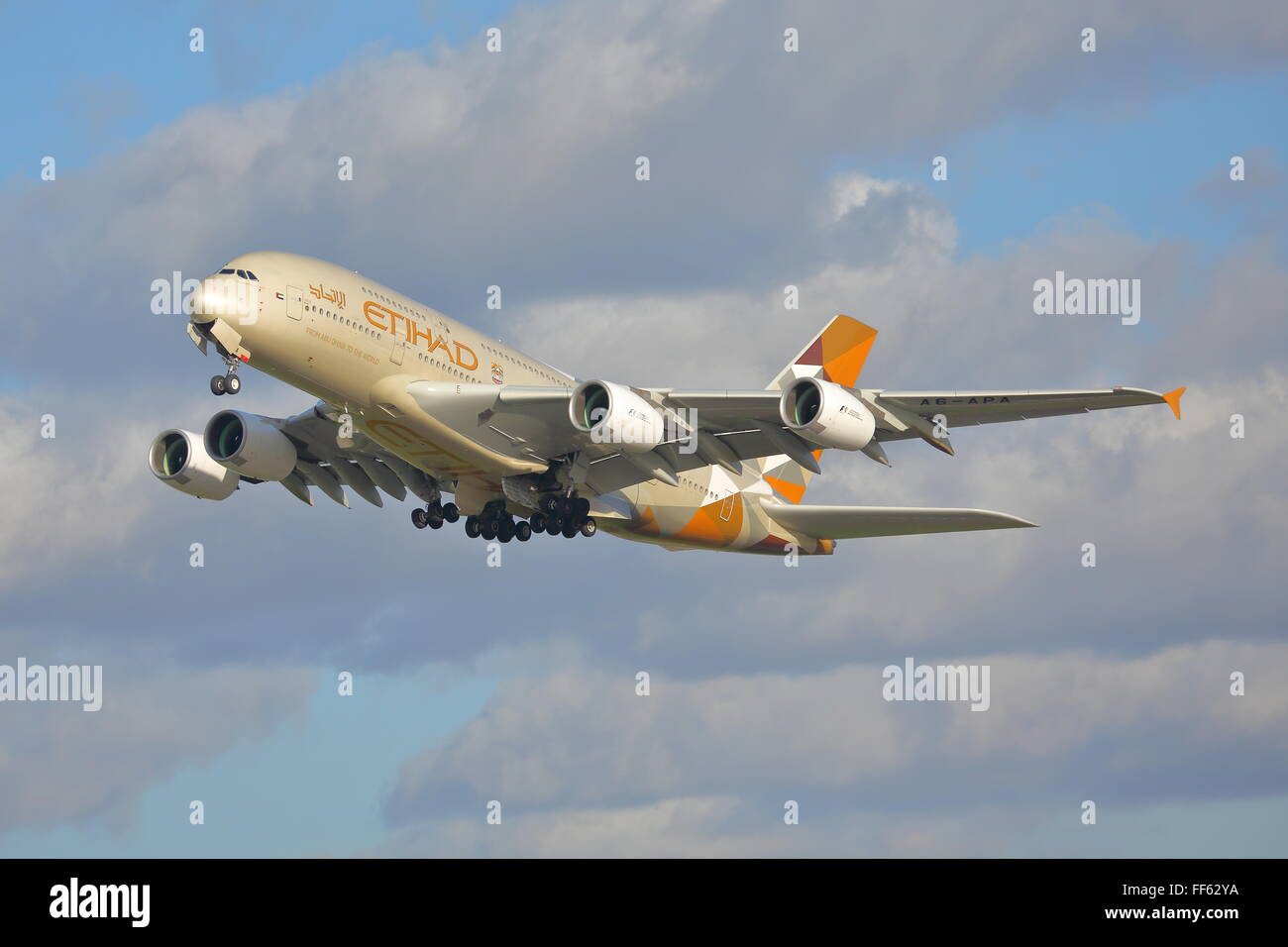 Etihad Airways Airbus A380-800 A6-APA approaching London Heathrow Airport, UK - Stock Image