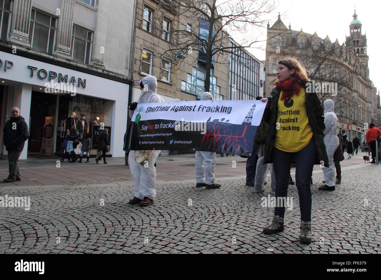 Protesters in Sheffield city centre campaign against fracking, Sheffield, South Yorkshire England UK - Stock Image