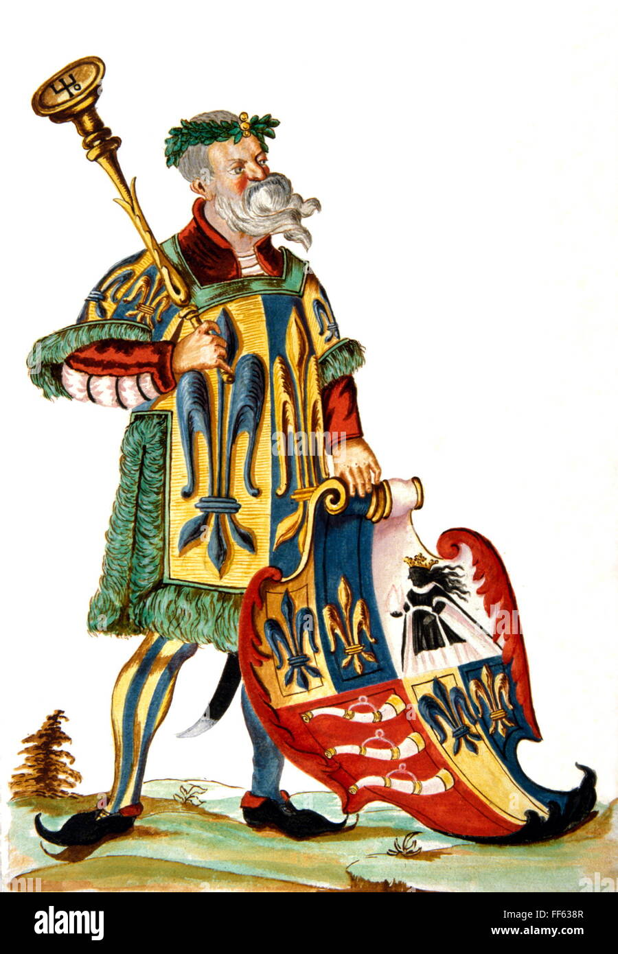 heraldry, herald, herald of the Reichsgraf (Count of the Holy Roman Empire) Fugger with shield, Fugger's arms book, Stock Photo