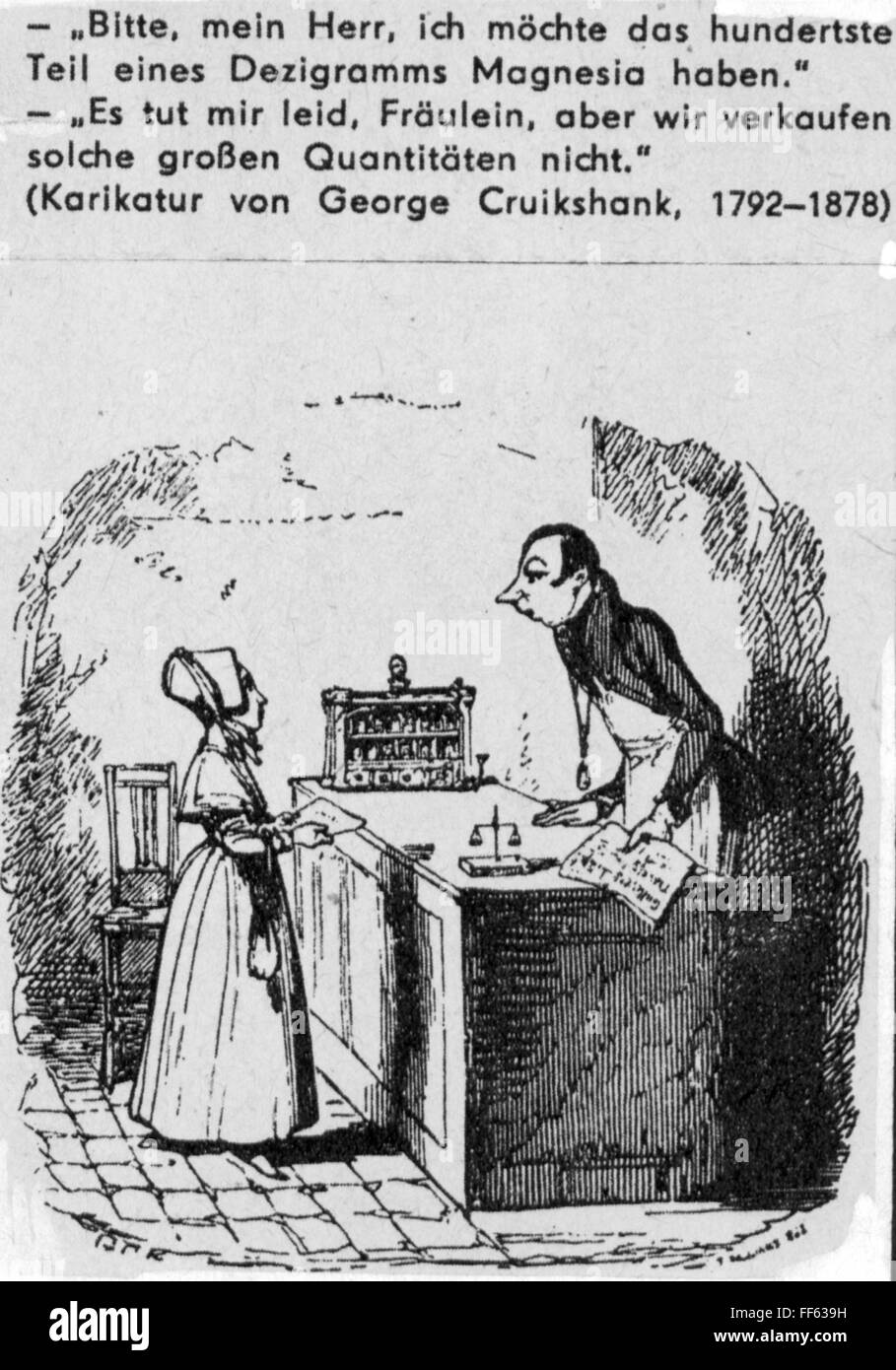 medicine, homeopathy / allopathy, female customer in homeopathic apothecary, drawing by George Cruikshank(1792 Stock Photo