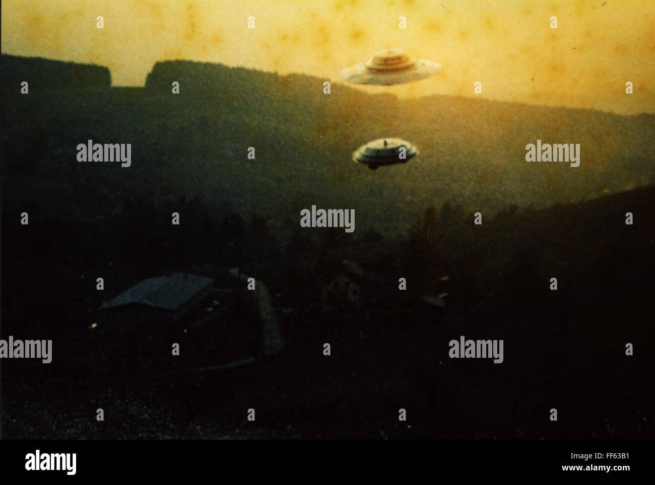 astronautics, unidentified flying object (UFO), flying ufo, Zeleg Bettswil, Switzerland, 3.3.1975, Additional-Rights - Stock Image