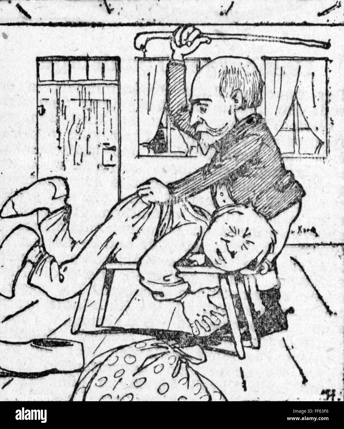 pedagogy, caricature, 'Images of Prussian culture', drawing, out of: 'Kladderadatsch', Berlin, 1899, - Stock Image