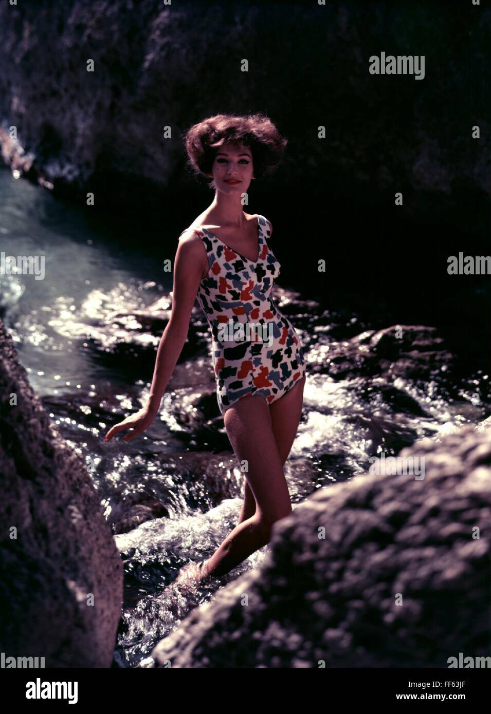 fashion, 1960s, swimwear, woman wearing coloured swimsuit, , Additional-Rights-Clearences-NA - Stock Image