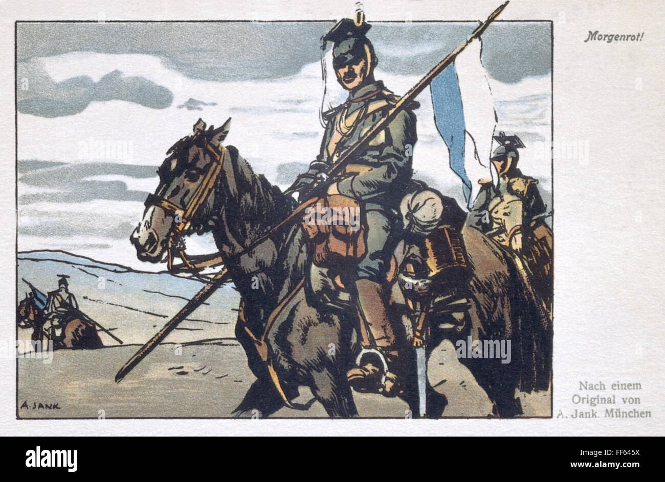 military, Germany, cavalry, Bavarian uhlan, 1914, coloured drawing 'Morgenrot' (Dawn) by Angelo Jank (1868 - Stock Image