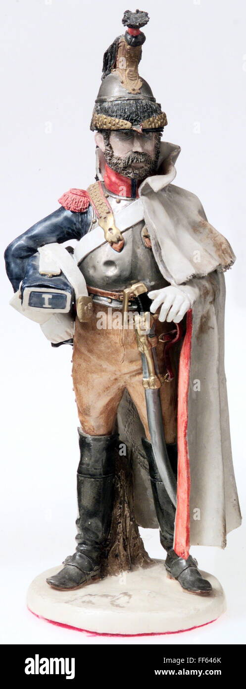 military, France, cavalry, cuirassier of the 1st Regiment after the regulation of 1812, porcelain figure by Bernard - Stock Image