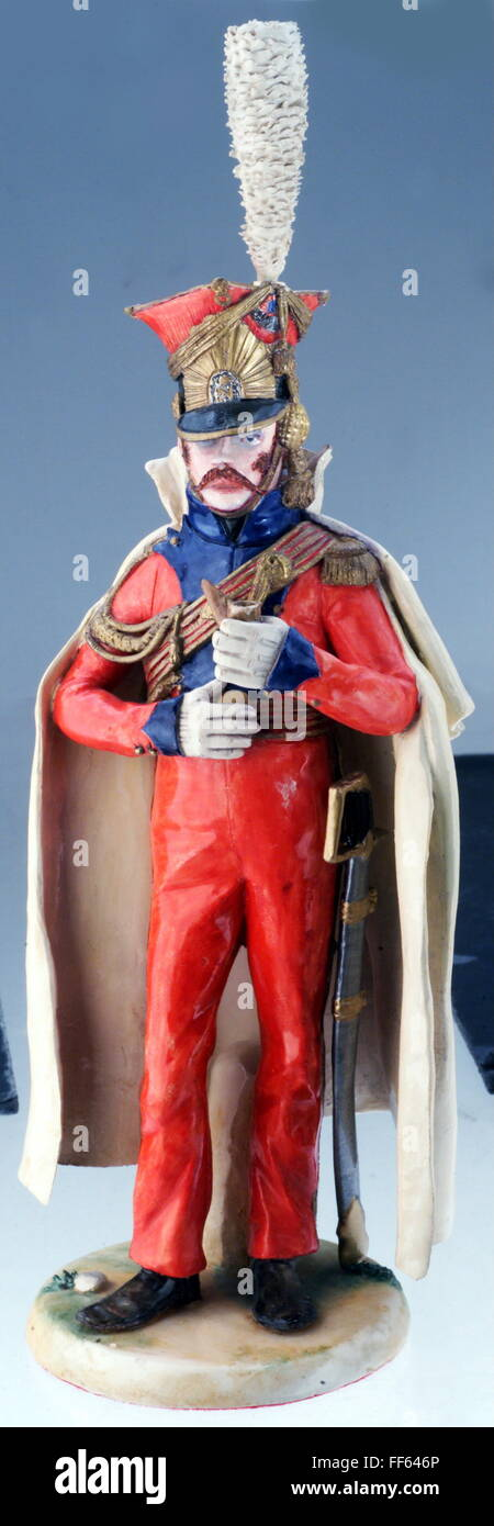 military, France, cavalry, uhlan of the 2nd Regiment Cheveaulegers Lanciers, Imperial Guard, 1812, porcelain figure - Stock Image