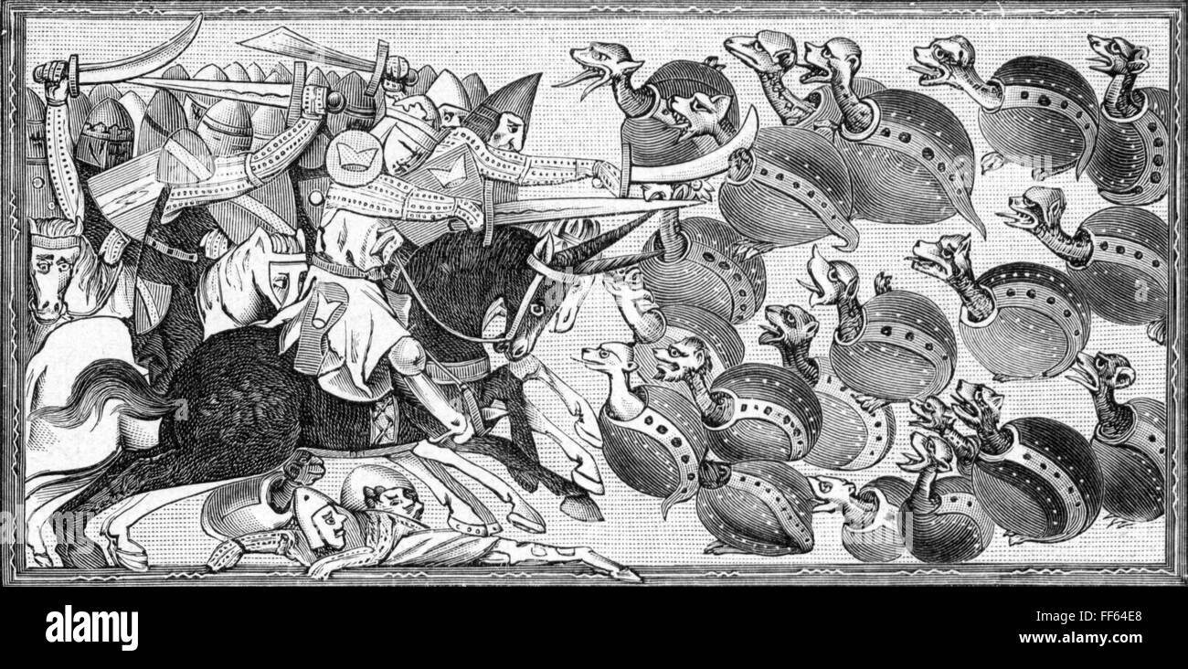 literature, Middle Ages, Alexander romance, Alexander 'the Great' fighting against turtles, after miniature, - Stock Image