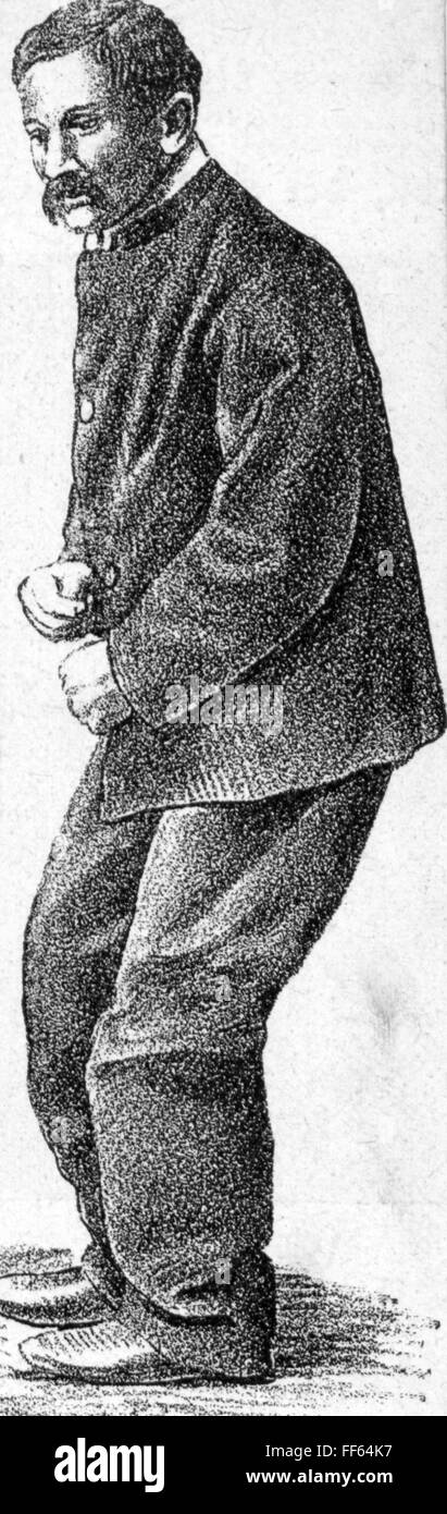 medicine, diseases, Parkinson's disease, typical pose of a sick person, wood engraving, circa 1900, Additional - Stock Image