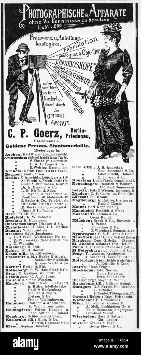 advertising, photography, advertisement for cameras of C.P.Goerz, Berlin, out of: 'Beiblatt der Fliegenden Blätter', - Stock Image
